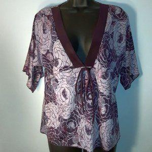 Sparkling Purple Top~ Floral design~ Size Large ~
